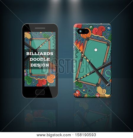 Vector realistic phone and case design of billiard, pool and snooker doodle cartoon style. Concept of corporate identity brand. Design for cover stationery.