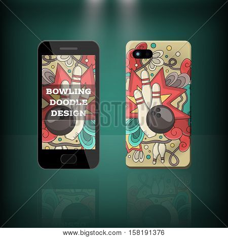 Vector realistic phone and case design of bowling doodle cartoon style. Concept of corporate identity brand. Design for cover stationery.