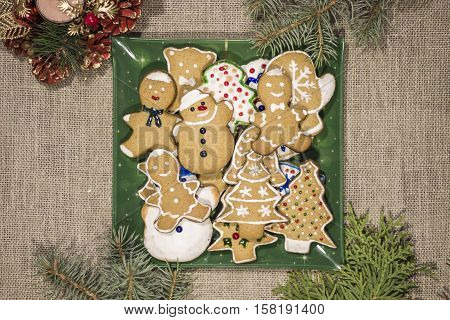 Ginger homemade cookies on St. Nicholas day and Christmas.