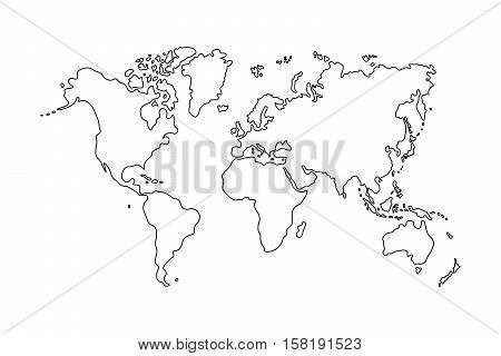 Outline World Map On Vector Photo Free Trial Bigstock