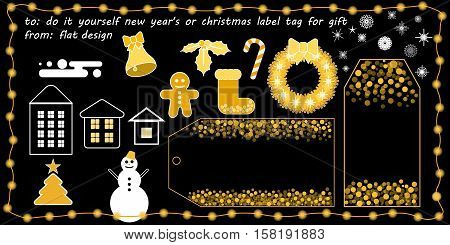 flat vector new year's or christmas printable tag for gift or sale do it yourself new year's or christmas label tag for gift gold glitter effect on black