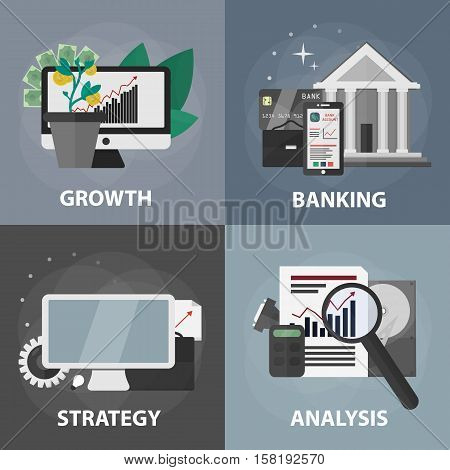 Vector flat square banners of growth, banking, strategy and analysis. Business concept of marketing, e-commerce and economy. Set of business elements.