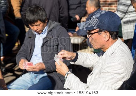 New York, United States of America - November 17, 2016: Two Chinese men playing cards in Columbus Park in Chinatown