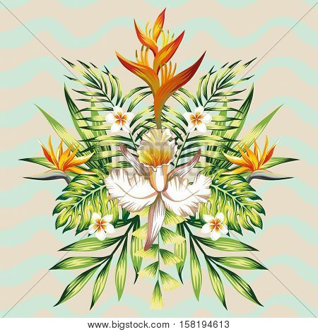 Fashion wallpaper mirror composition of tropical flowers frangipani lotus bird of paradise Strelitzia leaves banana palms and plants on the background of wavy gray mint color