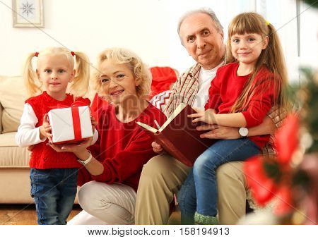 Elderly couple and their granddaughters with Christmas present and book in living room