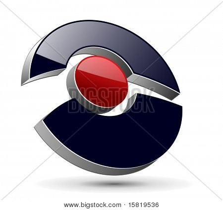 Abstract design, 3d glossy symbol, vector.