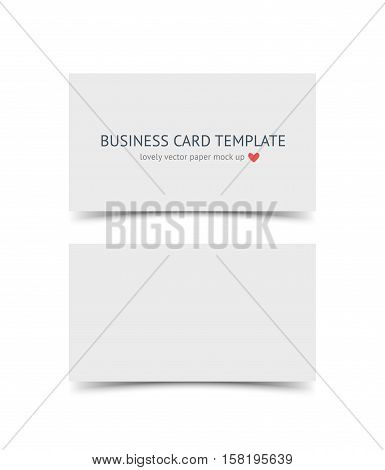 Business card template mock up with shadow isolated on white background. Realestic vector paper cards for portfolio presentation, business identity, web banner