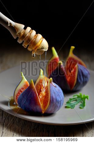 Honey dipper and figs on plate, close up