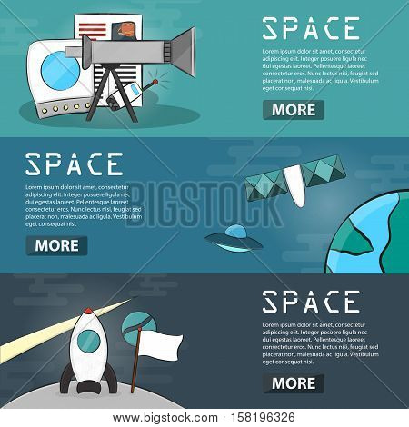 Set of vector cartoon horizontal banners of space. Business concept of exploration, outer space, astronomy and universe in hand drawn design. Doodle illustration of cosmos elements.