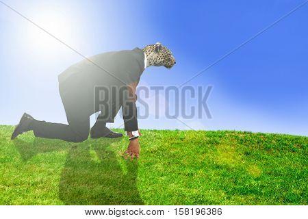 Business man with a jaguar head starting a running
