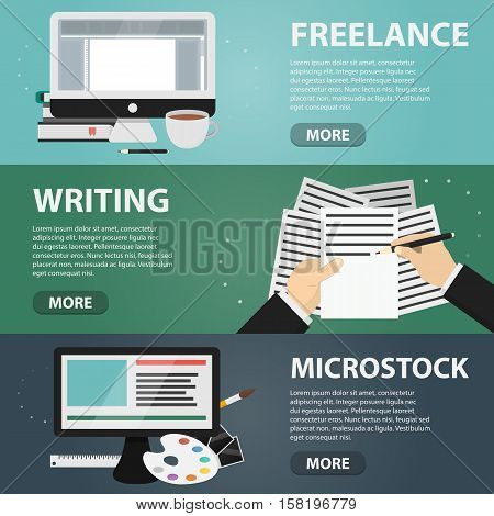 Set of vector flat horizontal banners of freelance, writing and microstock. Business concept of creative job, digital drawing and online marketing.