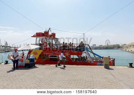 MALAGA SPAIN - SEPTEMBER 3: Sightseeing boat at Port of Malaga Spain