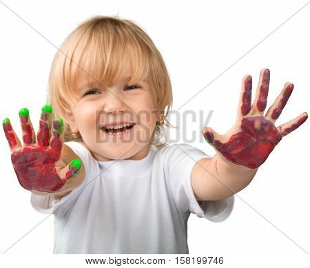 Portrait of a Smiling Child Showing Painted Hands