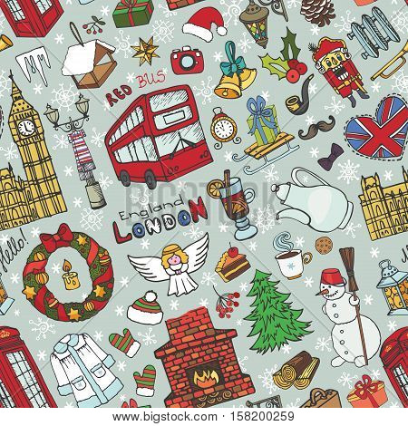 London Winter Vector seamless pattern with landmark, symbols.Hand drawn doodle sketchy.Big Ben, red bus, British sign, christmas symbols, new year elements, snowflakes.England vintage icons, background, wallpaper