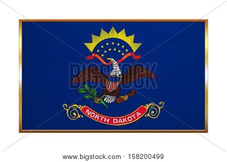Flag of the US state of North Dakota. American patriotic element. USA banner. United States of America symbol. North Dakotan official flag golden frame textured illustration. Accurate size colors