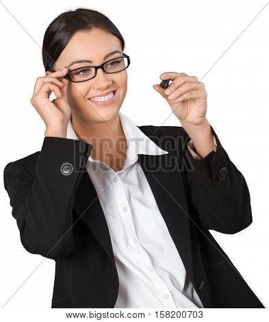 Friendly Businesswoman Writing with Dry Erase Marker - Isolated
