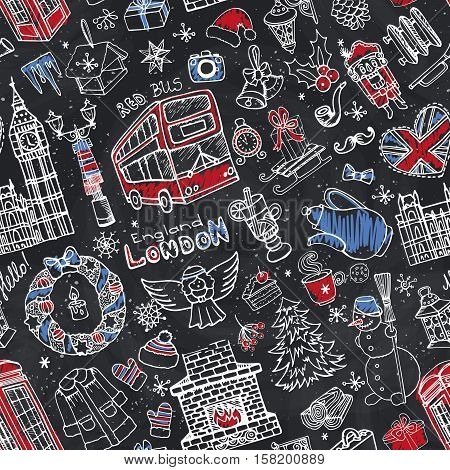 London Winter Vector seamless pattern with landmark, symbols.Hand drawn doodle sketchy.Big Ben, red bus, British sign, christmas symbols, new year elements.England vintage icons, Chalkboard background, wallpaper