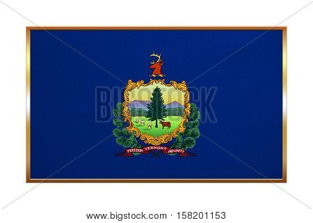 Flag of the US state of Vermont. American patriotic element. USA banner. United States of America symbol. Vermonter official flag golden frame fabric texture illustration. Accurate size colors
