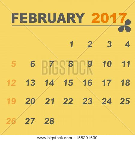 Simple calendar template of february 2017 stock vector