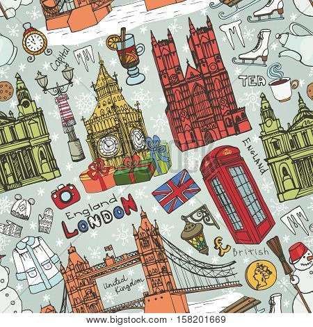 Winter Vector.London landmark, symbols in seamless pattern.Hand drawn doodle sketchy.Famous architectural monuments, sign, christmas symbols. England vintage icons, background, ornament, wallpaper