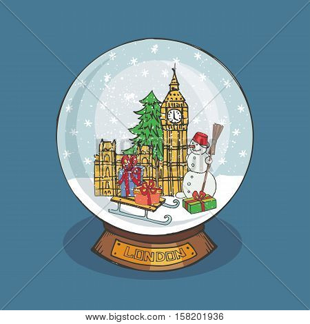 Merry Christmas snow globe with London.Doodle Big Ben, fir tree, gifts, snowman under the snow.Hand drawing New Year present. Vintage simple vector, new year glass ball