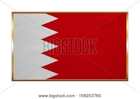 Bahraini national official flag. Patriotic symbol banner element background. Correct colors. Flag of Bahrain with golden frame fabric texture illustration. Accurate size color