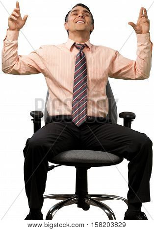Relaxed Businessman Sitting on Chair with Open Arms - Isolated