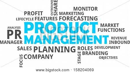 A word cloud of product management related items