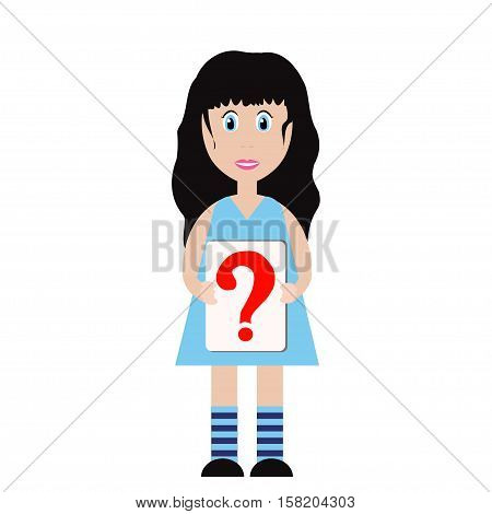 Cute girl in a blue dress holding a sheet of paper with a big question mark sign on . Isolated on white background. Tablet with question mark
