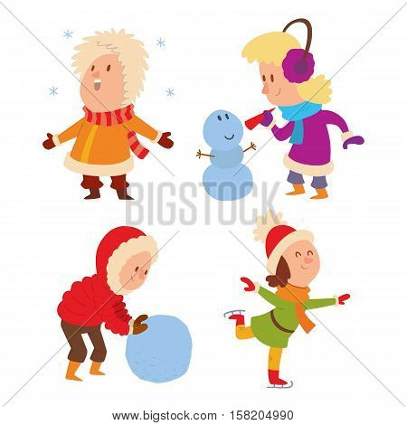 Christmas kids playing winter games. Skating, girl dresses up Christmas tree, boy makes a snow man, children playing snowballs. Cartoon New Year winter holidays background.