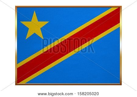 DR Congo national official flag. African patriotic symbol banner element background. Flag of Democratic Republic of the Congo with golden frame fabric texture illustration. Accurate size colors