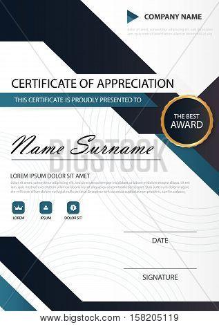 Blue black Elegance vertical certificate with Vector illustration white frame certificate template with clean and modern pattern presentation