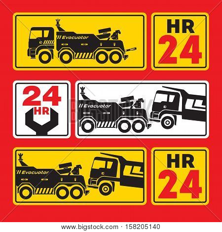 Tow truck for large vehicles. Sign icon