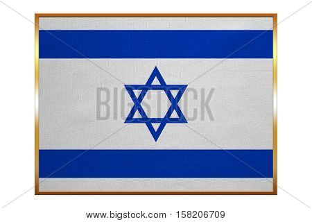 Israeli national official flag. Patriotic symbol banner element background. Correct colors. Flag of Israel with golden frame fabric texture illustration. Accurate size color