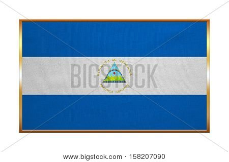 Nicaraguan national official flag. Patriotic symbol banner element background. Correct colors. Flag of Nicaragua with golden frame fabric texture illustration. Accurate size color