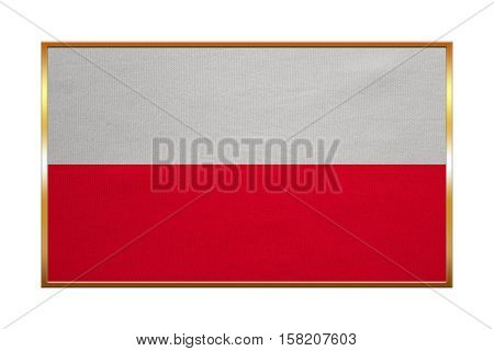 Polish national official flag. Patriotic symbol banner element background. Correct colors. Flag of Poland with golden frame fabric texture illustration. Accurate size color