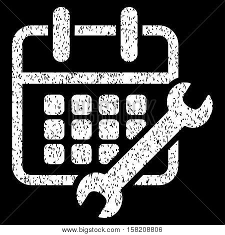 Calendar Configure grainy textured icon for overlay watermark stamps. Flat symbol with unclean texture. Dotted vector white ink rubber seal stamp with grunge design on a black background.