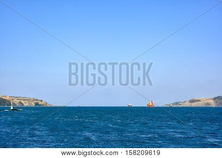 Ships crossing the Bosphorus Strait in Istanbul Turkey