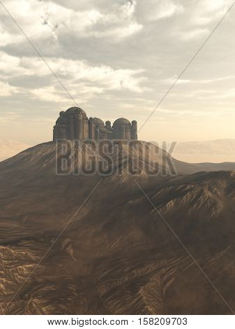 Fantasy illustration of an isolated citadel perched on a hill in an empty rocky desert, digital illustration (3d rendering)