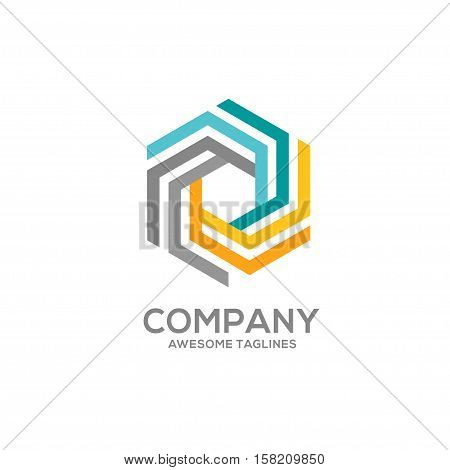 Hexagon color logo concept illustration. Hexagon abstract logo. Vector logo template Design element