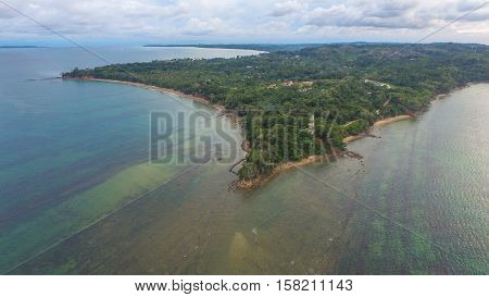 Aerial view of north island of Labuan Pearl of Borneo.Malaysia.Labuan is a rather flat island of 95 square kilometers.