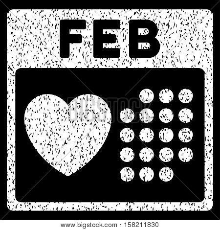 Valentine February Day grainy textured icon for overlay watermark stamps. Flat symbol with dust texture. Dotted vector white ink rubber seal stamp with grunge design on a black background.