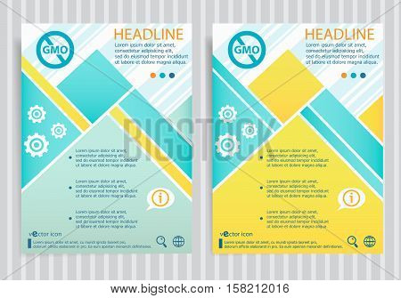 Without Genetically Modified Food Symbol On Vector Brochure Flyer Design Layout Template