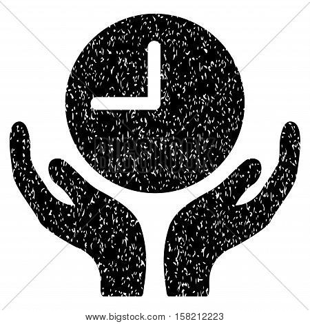 Clock Care Hands grainy textured icon for overlay watermark stamps. Flat symbol with scratched texture. Dotted vector black ink rubber seal stamp with grunge design on a white background.