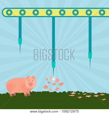 Machine with needles exploding pigs in the filed. Concept. Metaphorical.