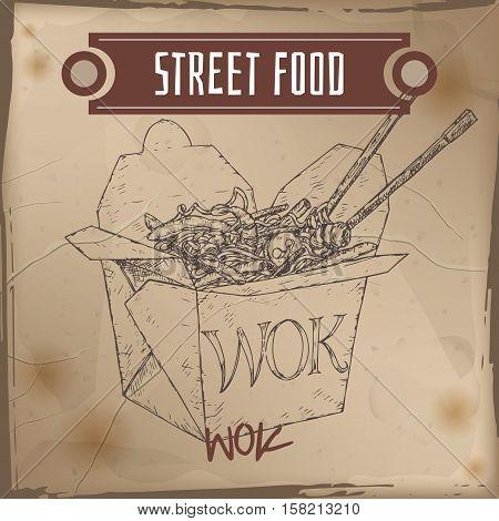 Wok noodles in a box sketch on grunge background. Asian cuisine. Street food series. Great for market, restaurant, cafe, food label design.