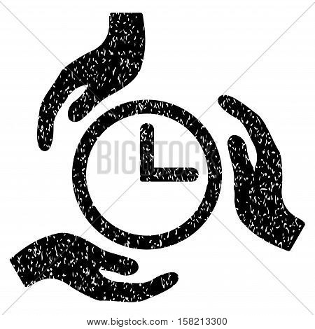 Time Care Hands grainy textured icon for overlay watermark stamps. Flat symbol with scratched texture. Dotted vector black ink rubber seal stamp with grunge design on a white background.