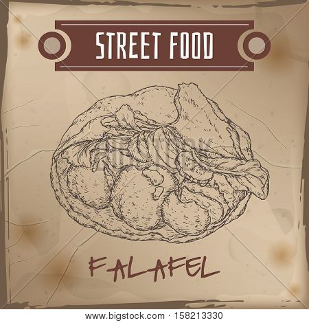 Falafel in pita sketch on grunge background. Middle eastern cuisine. Street food series. Great for market, restaurant, cafe, food label design.