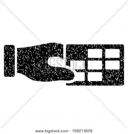 Timetable Properties grainy textured icon for overlay watermark stamps. Flat symbol with scratched texture. Dotted vector black ink rubber seal stamp with grunge design on a white background.
