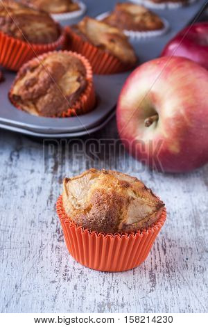 apple muffins in a holder on a white wooden background